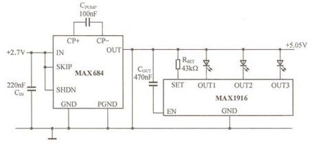 采用电荷泵升压电路控制三只led