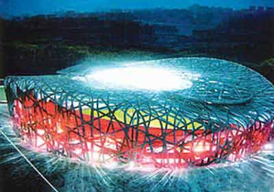 """""""鸟巢"""",也就是国家体育场,北京奥运会的开幕式及田径等赛事将在"""