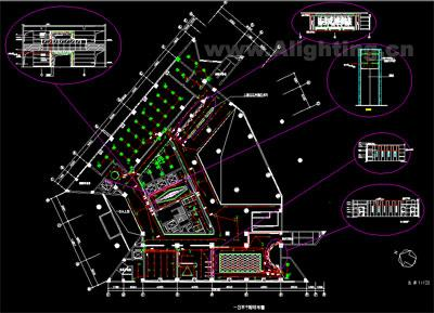 酒店办公楼强电布置照明平面图