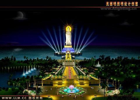 海上观音圣像效果设计-深圳市亮丽明照明设计创意