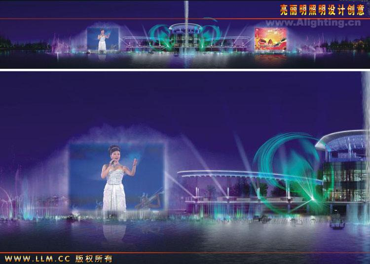 成都凤凰湖生态公园灯光整体规划设计-湖区激光水幕-.