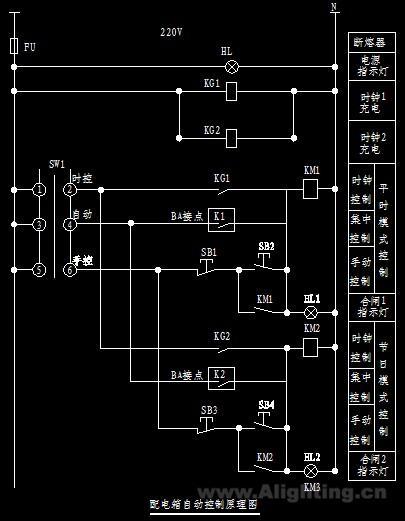 某市政工程的led照明配电系统控制原理图
