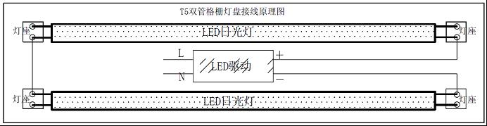 按照接线原理图接线(请注意正负极标识). 4. 打开开关,灯管亮起.