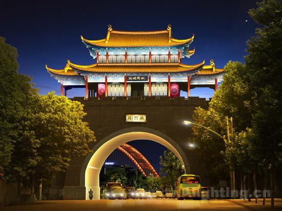 武汉晴川阁古建筑夜景照明设计分析