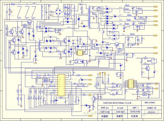 开关电源的结构和基本原理   开关电源工作原理通过高频开关技术将输入的较高的交流电压(AC)转换为PC电脑工作所需要的较低的直流电压(DC)。   用提高工作频率等手段来提高电源的功率密度,进而达到减少变压器的体积和重量的目的。采用开关变换的显著优点是大大提高了电能的转换效率,典型的PC电源效率为70%-75%,而相应的线性稳压电源的效率仅有50%左右。