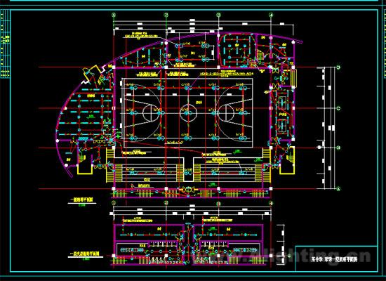 该图纸包括球馆低压配电系统图、一层篮球场照明平面图、