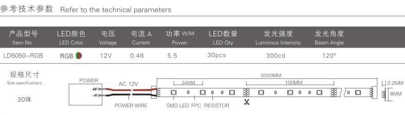 12v smd 5050 七彩灯带