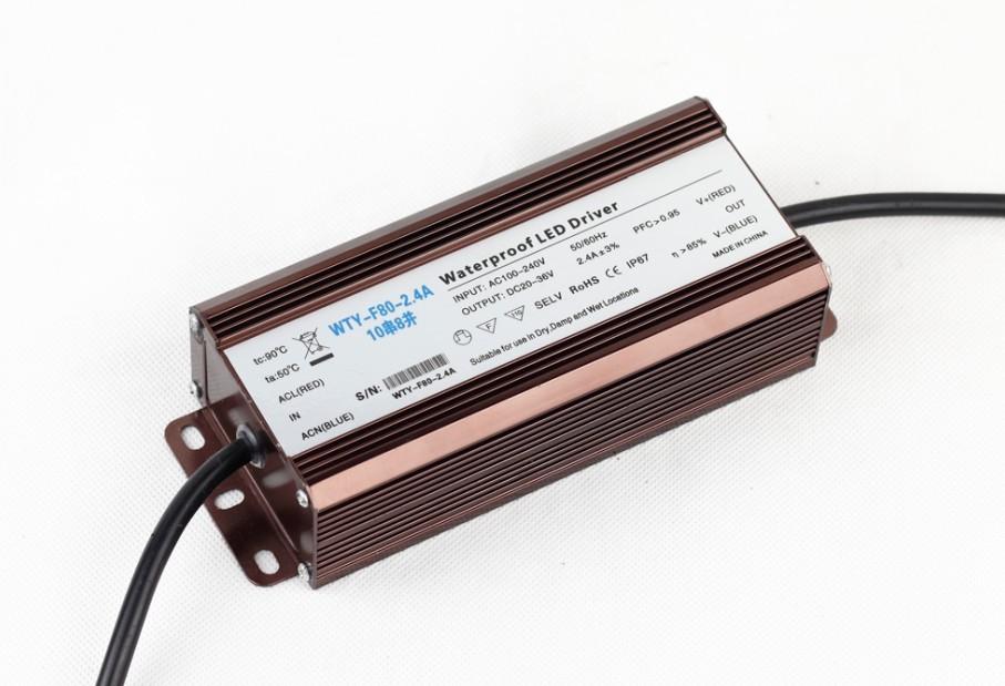80瓦LED驱动电源 材质:铝壳防水 尺寸:180*71*43.5mm 重量:0.74Kg In put:AC100-240V Out put:DC20-36V 输出电流:2.4A3% PFC:>0.95 (国家工程必须要求的参数) >85%(质保3年) 公司理念:精益求精 卓越品质 联系地址:广东省中山市古镇瑞丰国际灯配城23栋2号 联系电话:0760-23661984 邓小姐