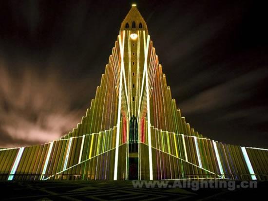 冰岛教堂hallgrímskirkja灯光分析