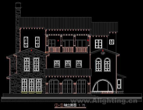君兰高尔夫园林别墅建筑立面布灯图