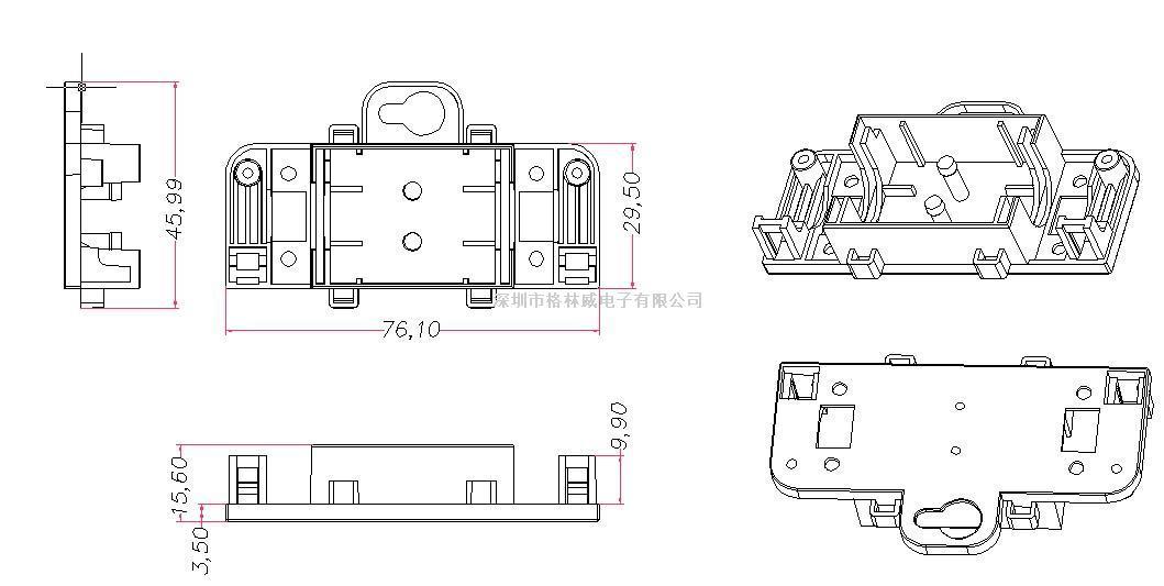 供应户外灯用防水接线盒 ip54 两边夹线接线盒