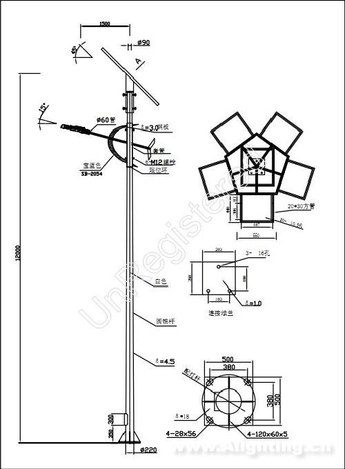 路灯平面图手绘图