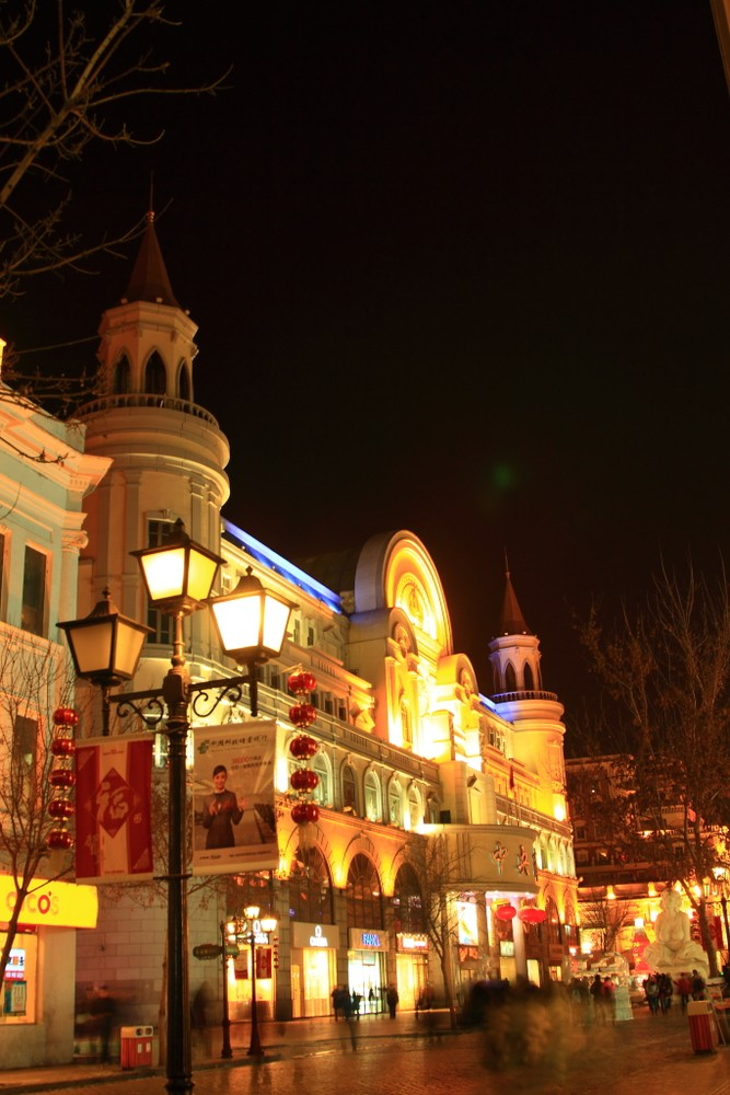 欧式小镇夜景照明