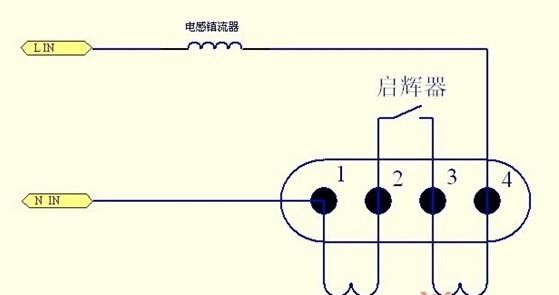 LED 2G11灯管灯脚的接线方式为1脚和2脚短接, 3脚和4脚短接。在替换原有灯具的过程中无需使用启辉器,因此直接拆除。由于镇流器在电路中也会耗电,且在加电瞬间会产生一个较强的电动势,容易损坏电源,因此对其要采用拆除短接的方式,A、B 两点与镇流器断开,然后用导线连接f起来。C 、D 两端断开,E、F两端连接,G、H 两端连接。详细如下图:
