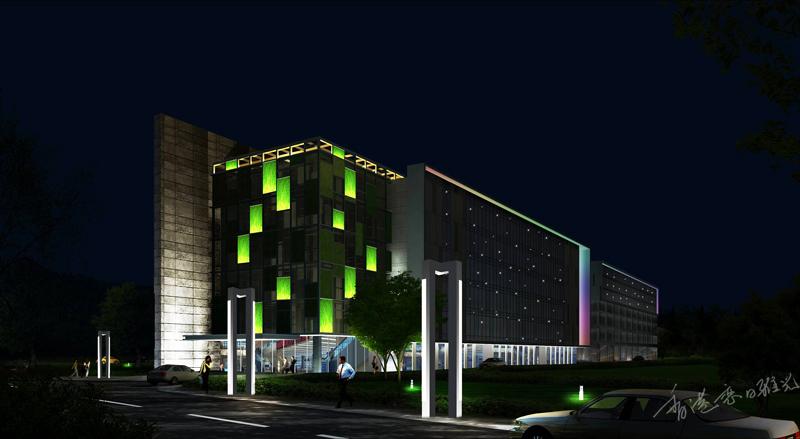 华夏曦岸办公楼夜景照明设计-邵天照明设计工作室