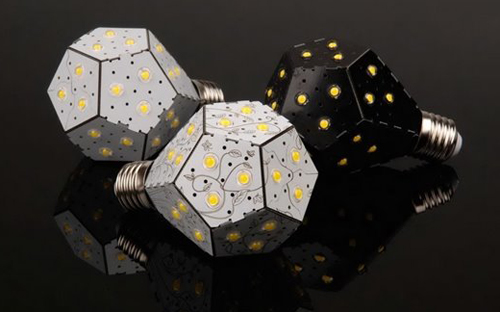 电路板折叠而成多边形,颠覆传统灯泡的形状,且较普通led灯泡省电达88%