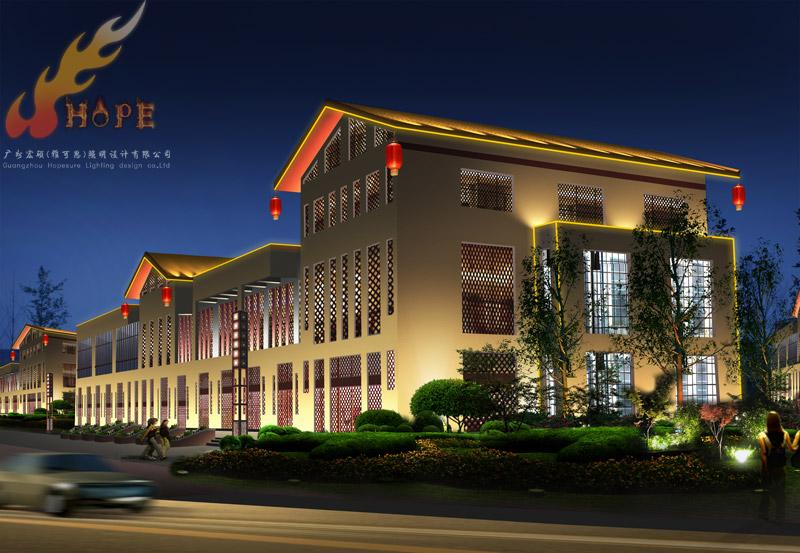 洛阳大唐东市夜景照明工程规划设计 关键词:古建夜景 灯光 设计 方案