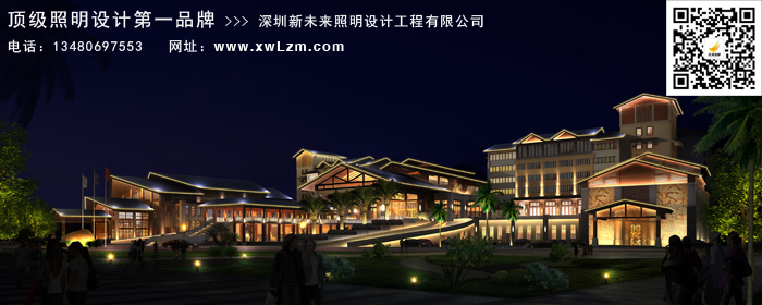 欧式建筑风格,线条灯勾勒建筑轮廓,屋顶屋面以投光灯照亮, 适度照明