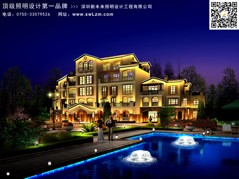 别墅别墅景观灯光设计打造灵动别致的别墅区富阳庭院图片