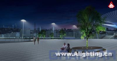 在南集散广场的两侧布置六套景观灯柱,以满足广场50lux以上的功能照明