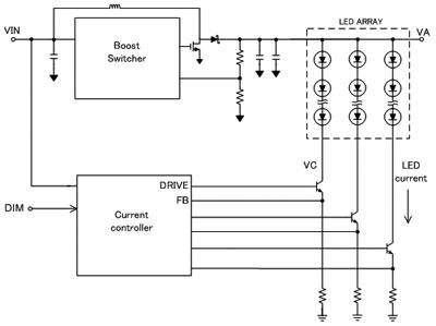 电路中的升压级产生的电压将led灯串正向偏置
