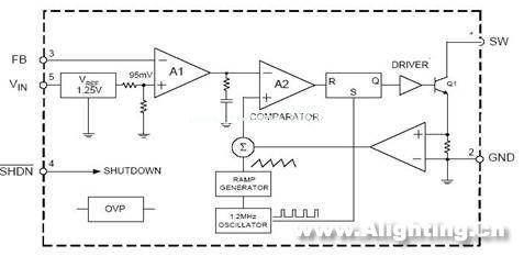 电流取样放大电路,pwm比较器,r/s触发器,输出驱动及功率开关管,过压