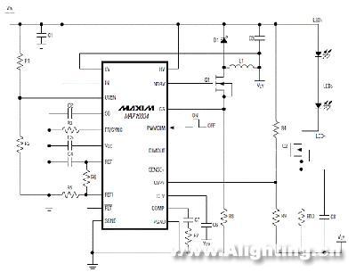 max16834高边降压led驱动器