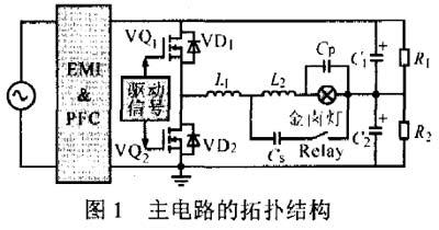 稳态阶段采用半桥双buck电路.采用3次谐波谐振方式可以降低启动电流.