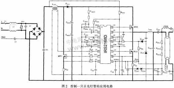 应当说明,该实用新型不仅适用于巷道灯和隧道灯,而且适用不同功率的日光灯管,也可用于室内照明、道路照明等场合。为了提高照明效果,高速公路隧道灯经常选用双管日光灯。为了节省镇流器的造价,可以采用一个镇流器驱动两只日光灯管,实际应用电路,如图3所示。